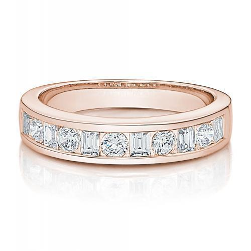 Round Brilliant and Baguette Channel Set Wedding Band in Rose Gold