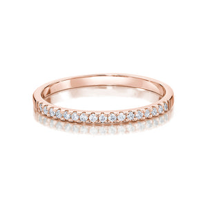 Cushion Cut and Round Brilliant Engagement Ring and band set in Rose Gold