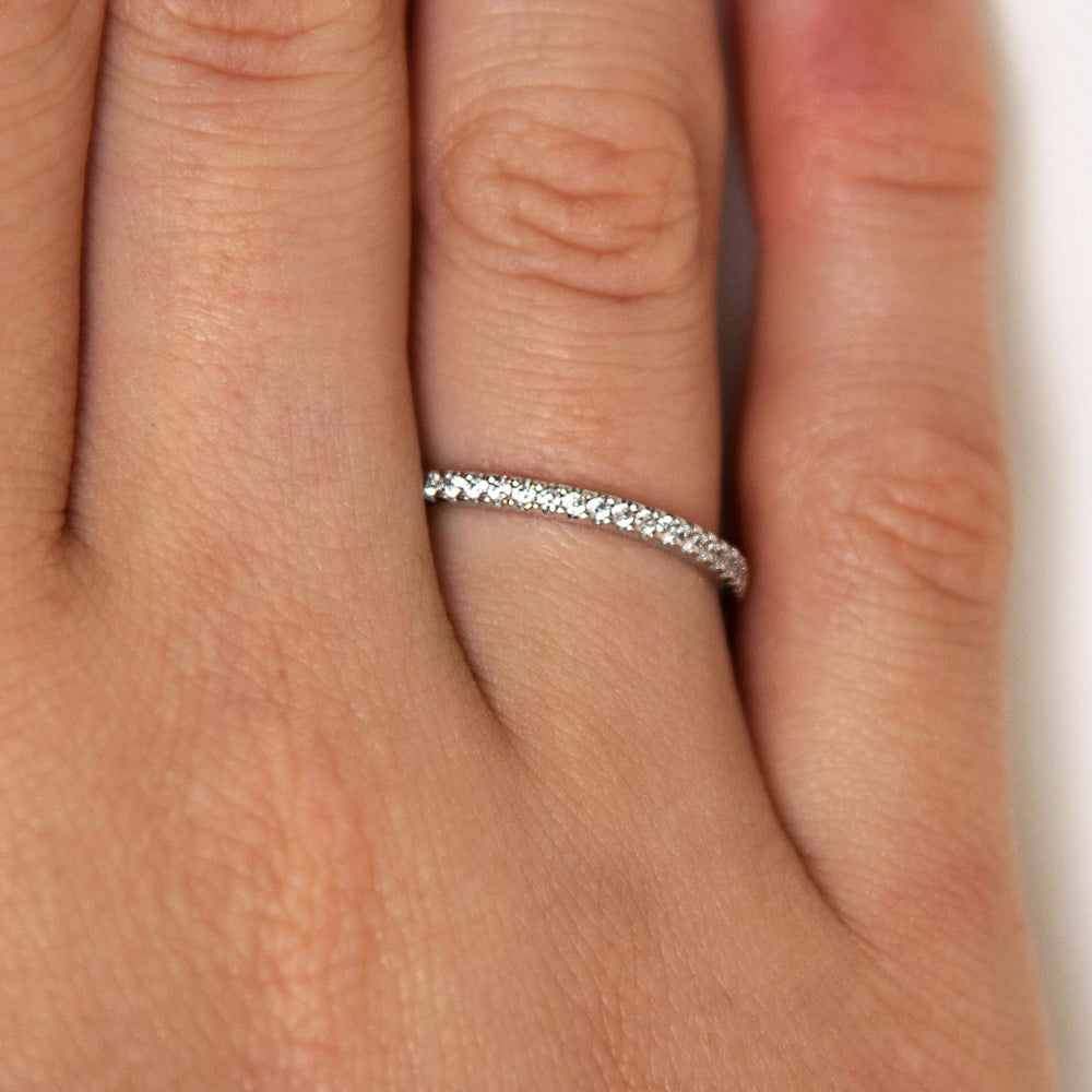 Round Brilliant Cut Wedding Band in White Gold