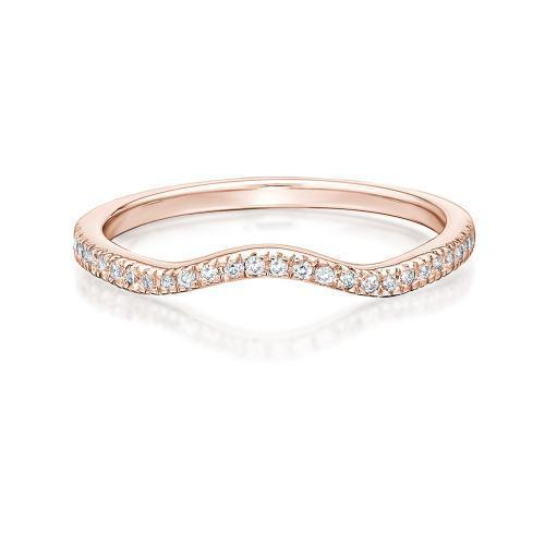 Halo Curved Band in Rose Gold