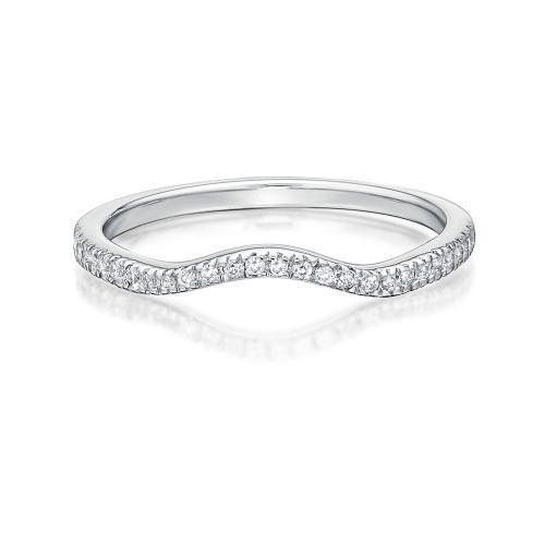 Halo Curved Band in White Gold