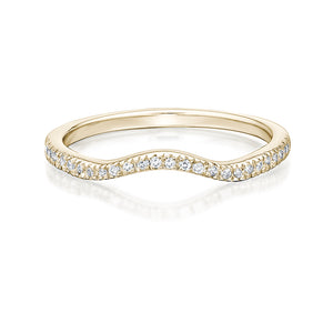 Small Round Halo Engagement and Band Set in Yellow Gold