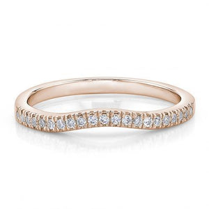 Round Brilliant Curved Halo Band in Rose Gold