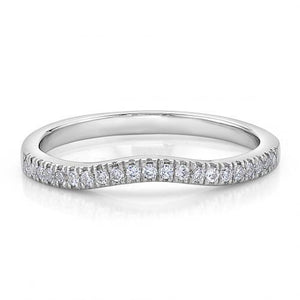 Round Brilliant Curved Halo Band in White Gold