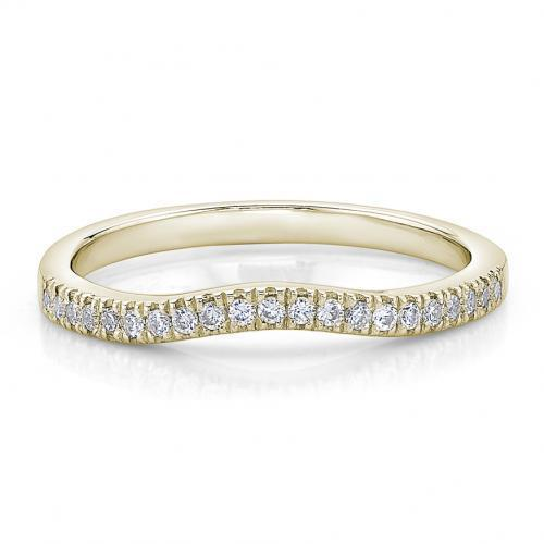 Round Brilliant Curved Halo Band in Yellow Gold