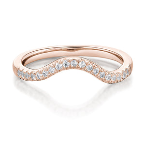 Round Brilliant Cut Curved Wedding Band in Rose Gold