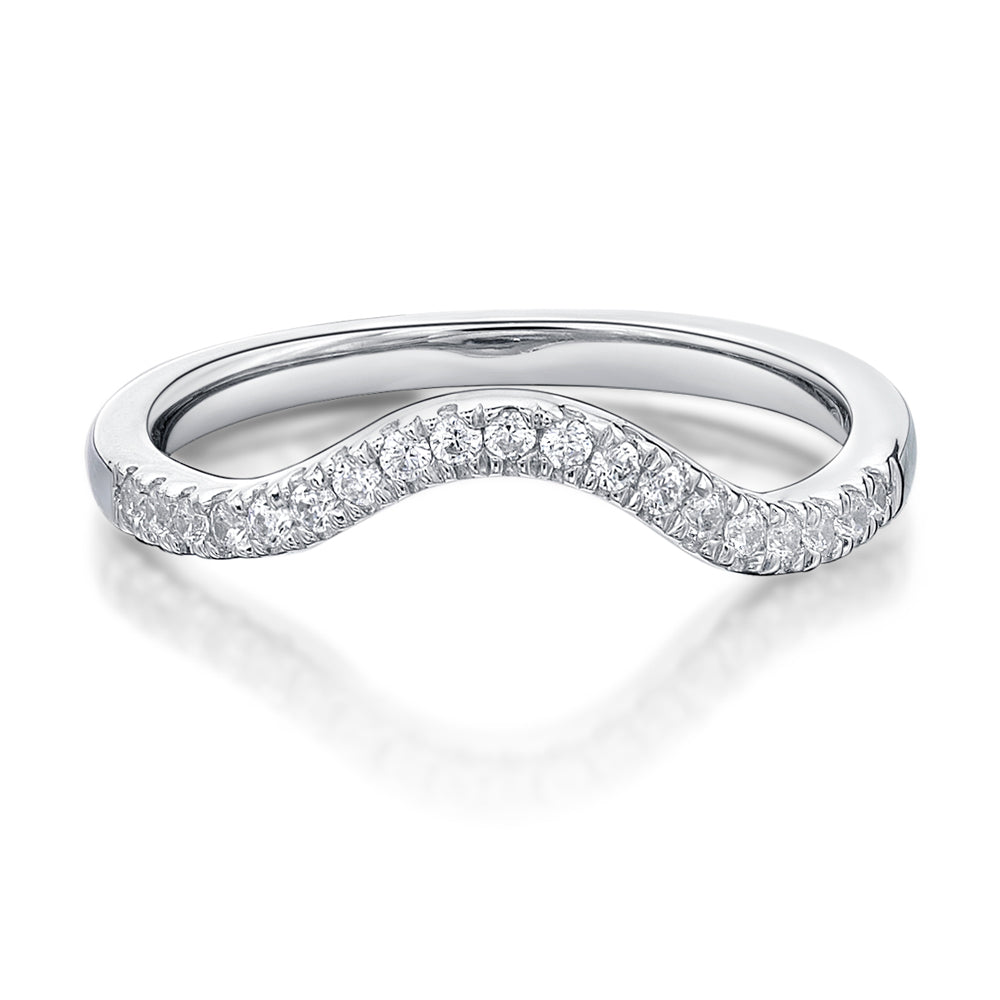 Round Brilliant Cut Curved Wedding Band in White Gold