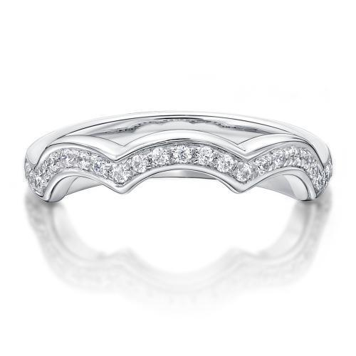 Round Brilliant Cut Triple Curve Wedding Band in White Gold