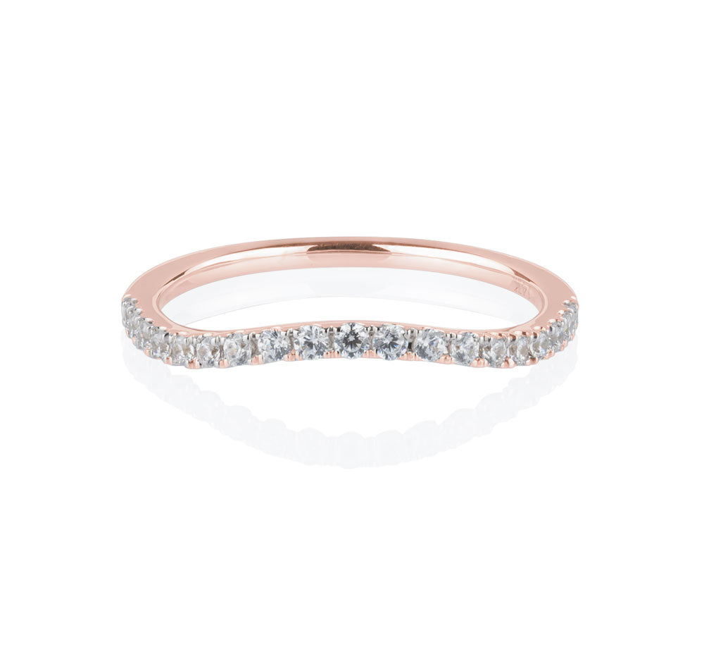 Juliet Double Halo curved band in Rose Gold