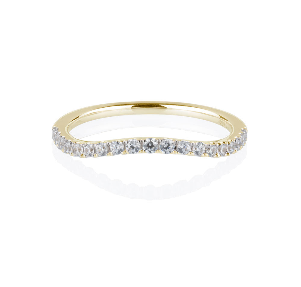 Juliet Double Halo curved band in Yellow Gold