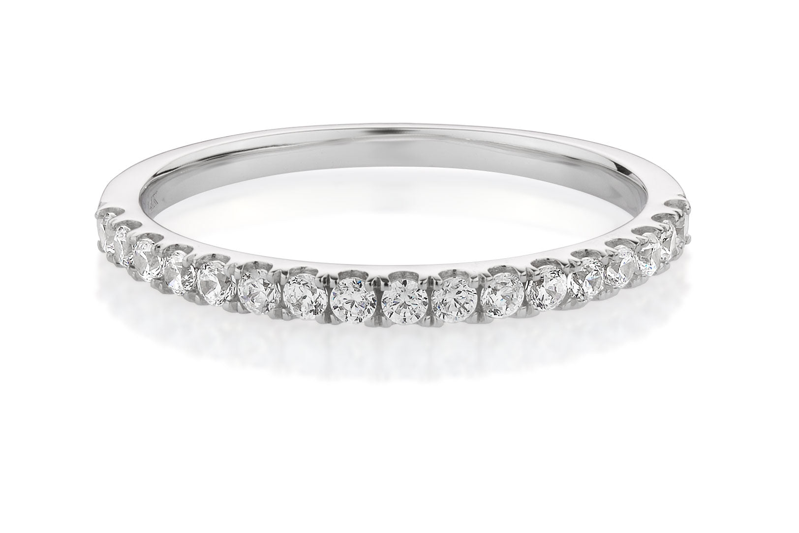 Petite Claw Set Wedding Band White Gold