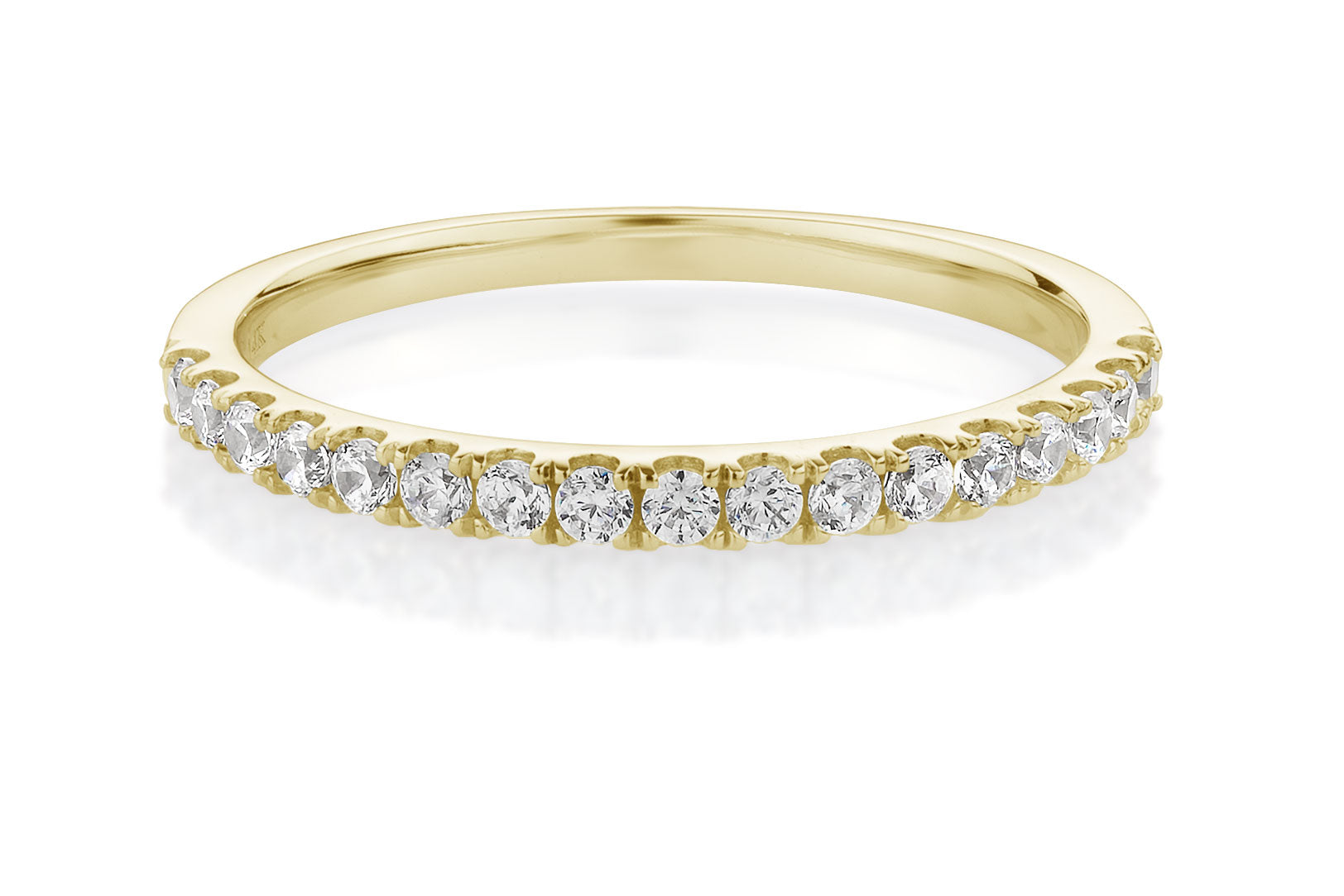 Petite Claw Set Wedding Band Yellow Gold