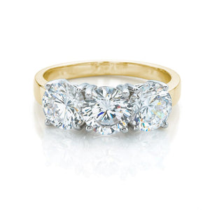 3 Stone Brilliant Cut Ring Yellow Gold w/ White Gold Setting