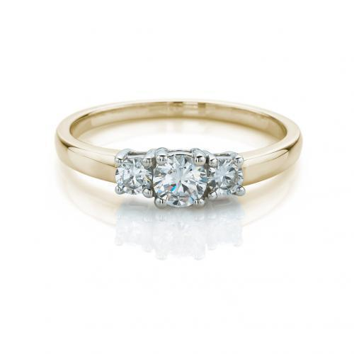 Fine Round Brilliant 3 Stone Ring in Yellow Gold w/ White Gold Setting
