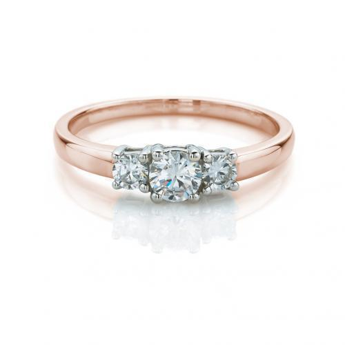 Fine Round Brilliant 3 Stone Ring in Rose Gold w/ White Gold Setting