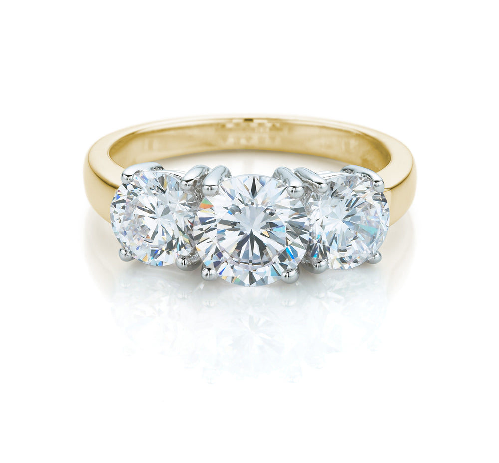 3 Stone Classic Claw Set Brilliant Cut Ring in 10ct Yellow Gold