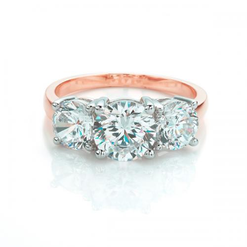 Large 3 Stone Round Brilliant Cut Ring in Rose Gold w/ White Gold Setting