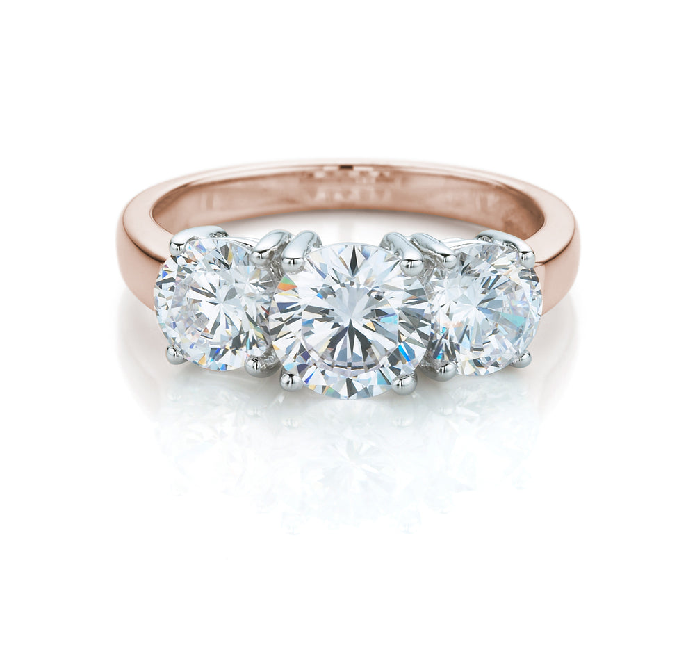 Round Brilliant 3 Stone Ring in Rose Gold