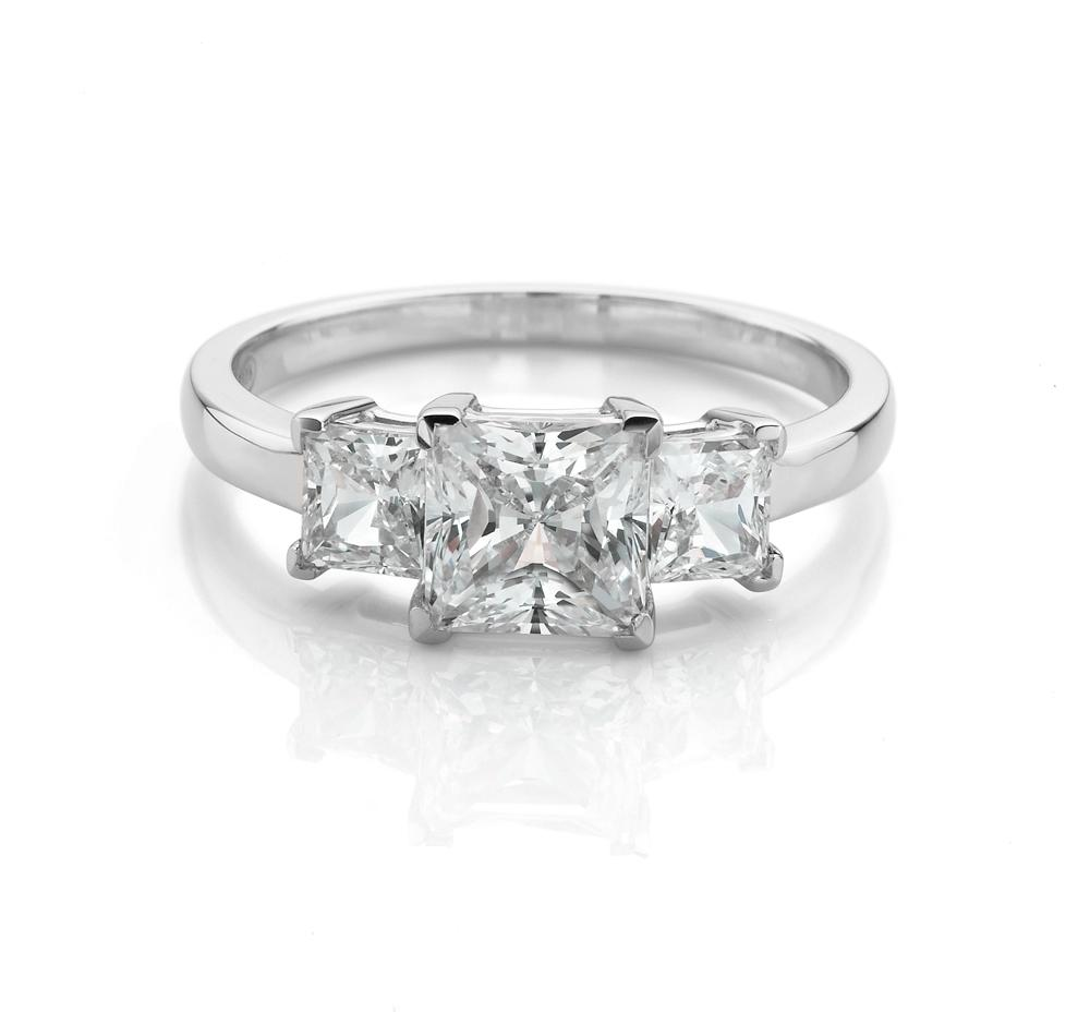 3 Stone Claw Set Princess Cut Ring in White Gold