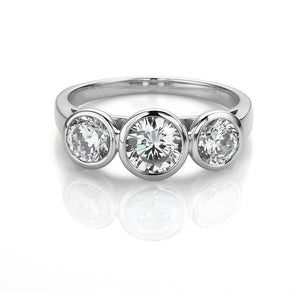 3 Stone Bezel Set Ring in White Gold