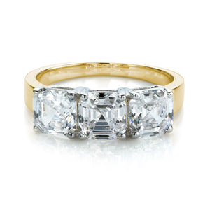 Large 3 Stone Asscher Ring in Yellow Gold w/ White Gold Setting