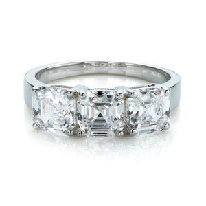 Large 3 Stone Asscher Ring in White Gold