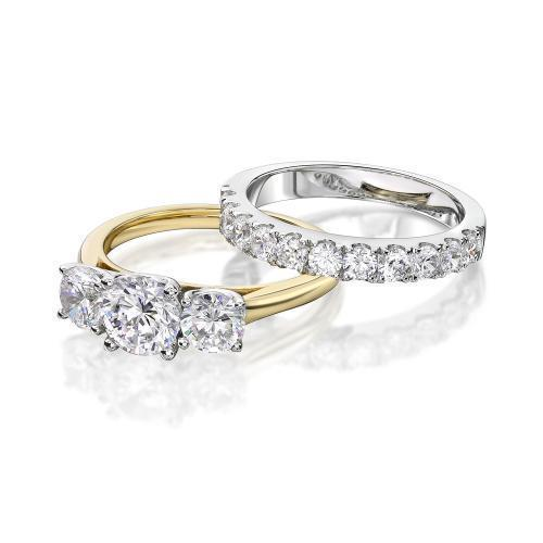 3 Stone Trilogy Engagement Ring and Wedding Band Set in Yellow Gold w/ White Gold Setting