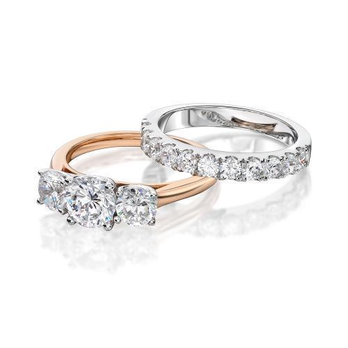 3 Stone Trilogy Engagement Ring and Wedding Band Set in Rose Gold w/ White Gold Setting