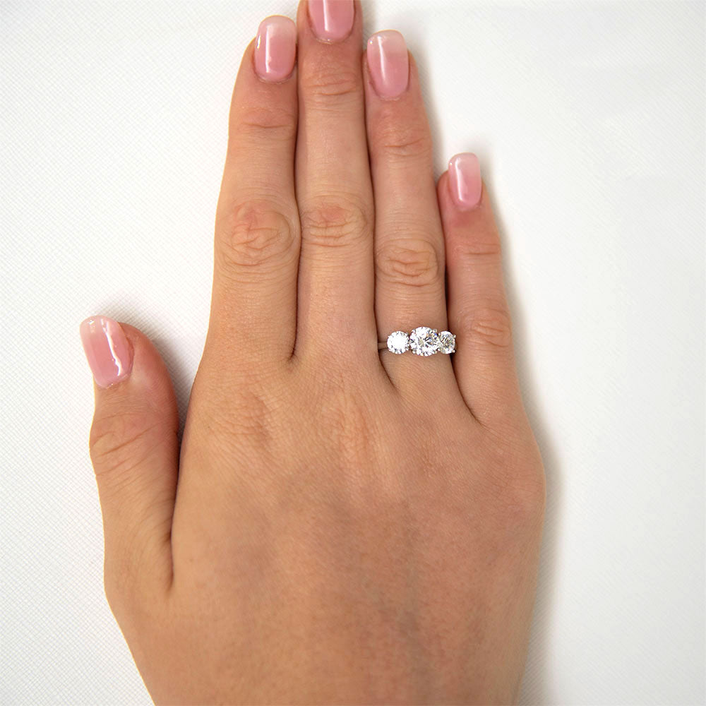 Round Brilliant Cut 3 Stone Trilogy Engagement Ring in White Gold