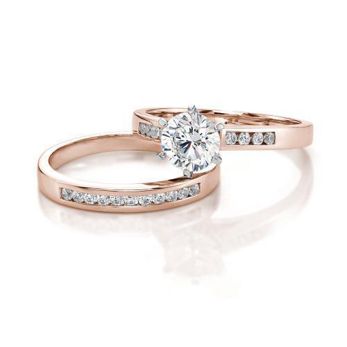 Round Brilliant Cut Channel Set Ring and Band Set in Rose Gold w/ White Gold Setting