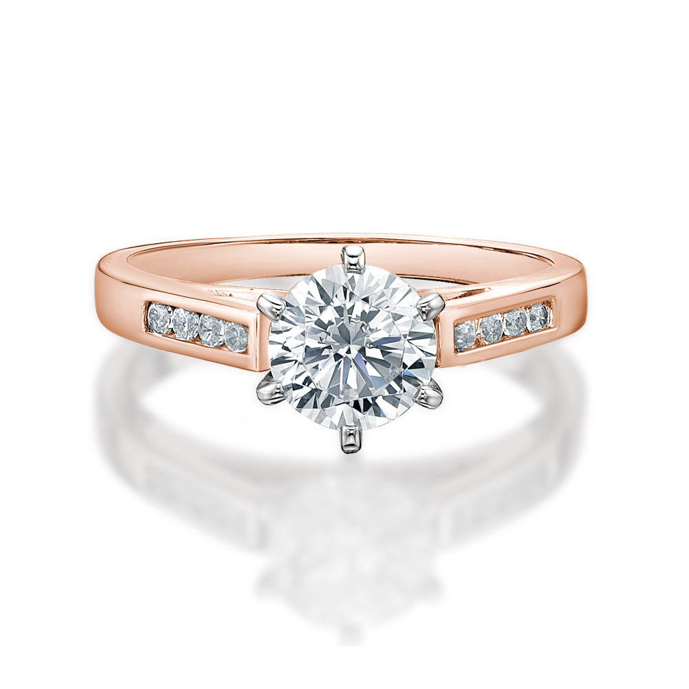 Round Brilliant Cut Elegant Engagement Ring in Rose Gold w/ White Gold Setting