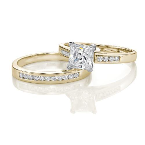 Princess Cut Channel Set Ring and Band Set in Yellow Gold