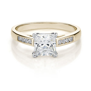 Princess Cut Elegant Engagement Ring in Yellow Gold w/ White Gold Setting