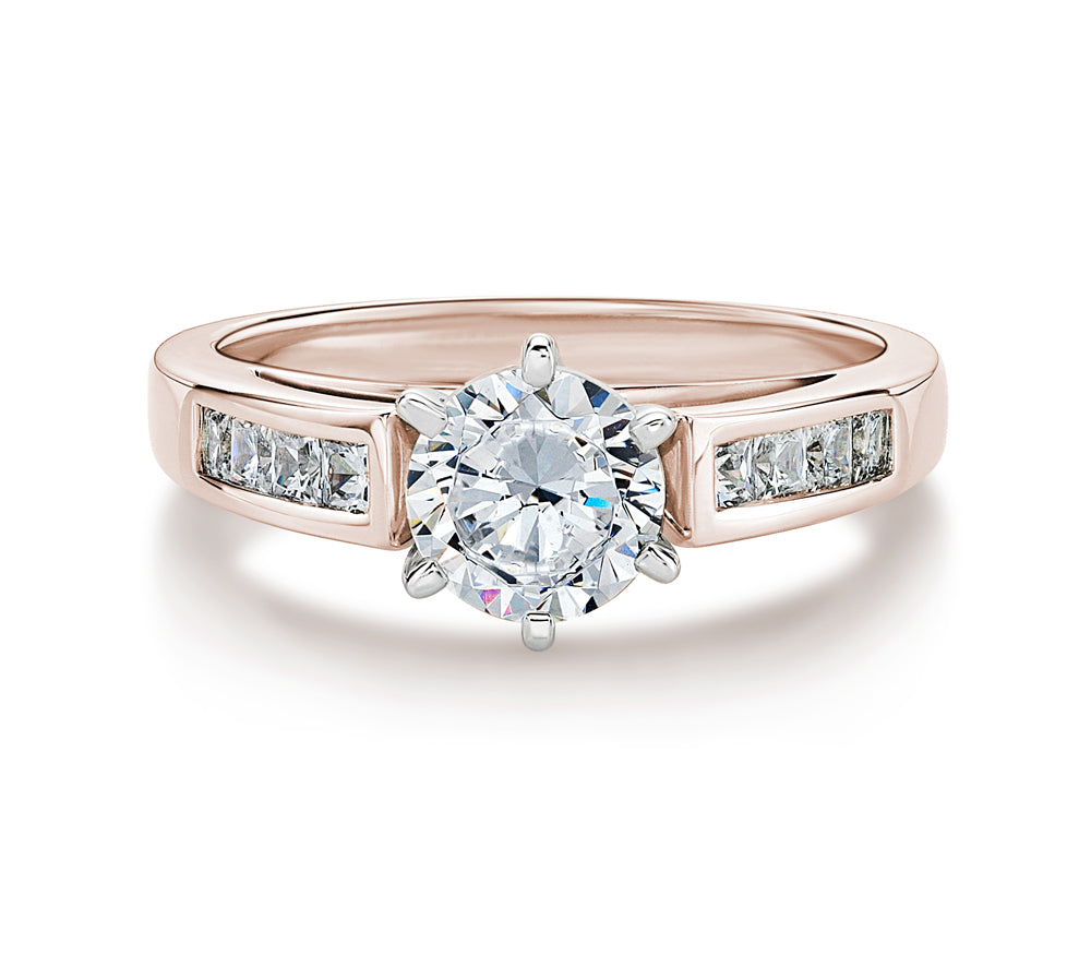 Claw and Channel Set Round Brilliant Engagement Ring in Rose Gold w/ White Gold Setting