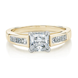 Claw and Channel Set Princess Cut Engagement Ring in Yellow Gold w/ White Gold Setting