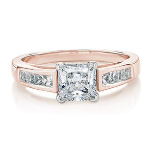 Claw and Channel Set Princess Cut Engagement Ring in Rose Gold w/ White Gold Setting