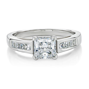 Claw and Channel Set Princess Cut Engagement Ring in White Gold