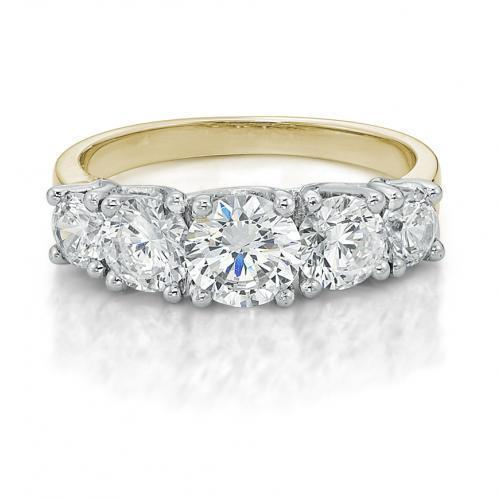 Graduated Round Brilliant 5 Stone Eternity Ring in Yellow Gold w/ White Gold Setting