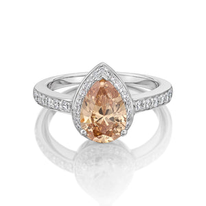 Pear and Round Brilliant Cut Dress Ring - Champagne Colour in White Gold