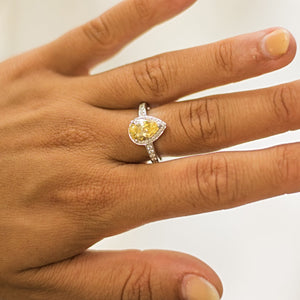Pear and Round Brilliant Cut Dress Ring - Yellow Diamond Simulant in White Gold