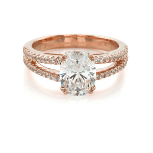 Oval Split Band Ring in Rose Gold