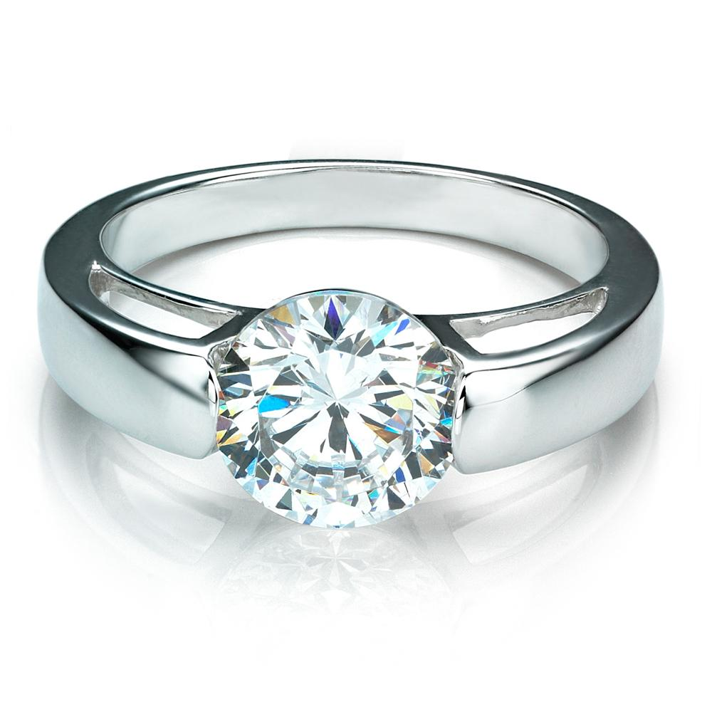 End Set Round Brilliant Cut Engagement Ring in White Gold