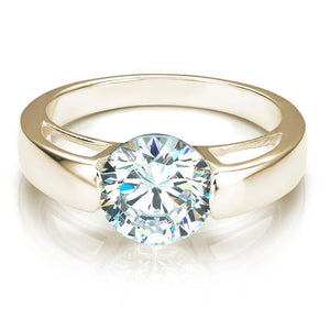 End Set Round Brilliant Cut Engagement Ring in Yellow Gold