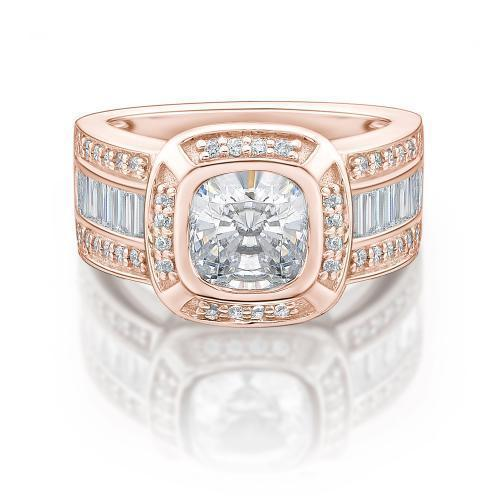 Cushion and Round Brilliant Dress Ring in Rose Gold