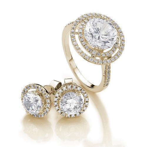Round Brilliant Halo Gift Set in Yellow Gold