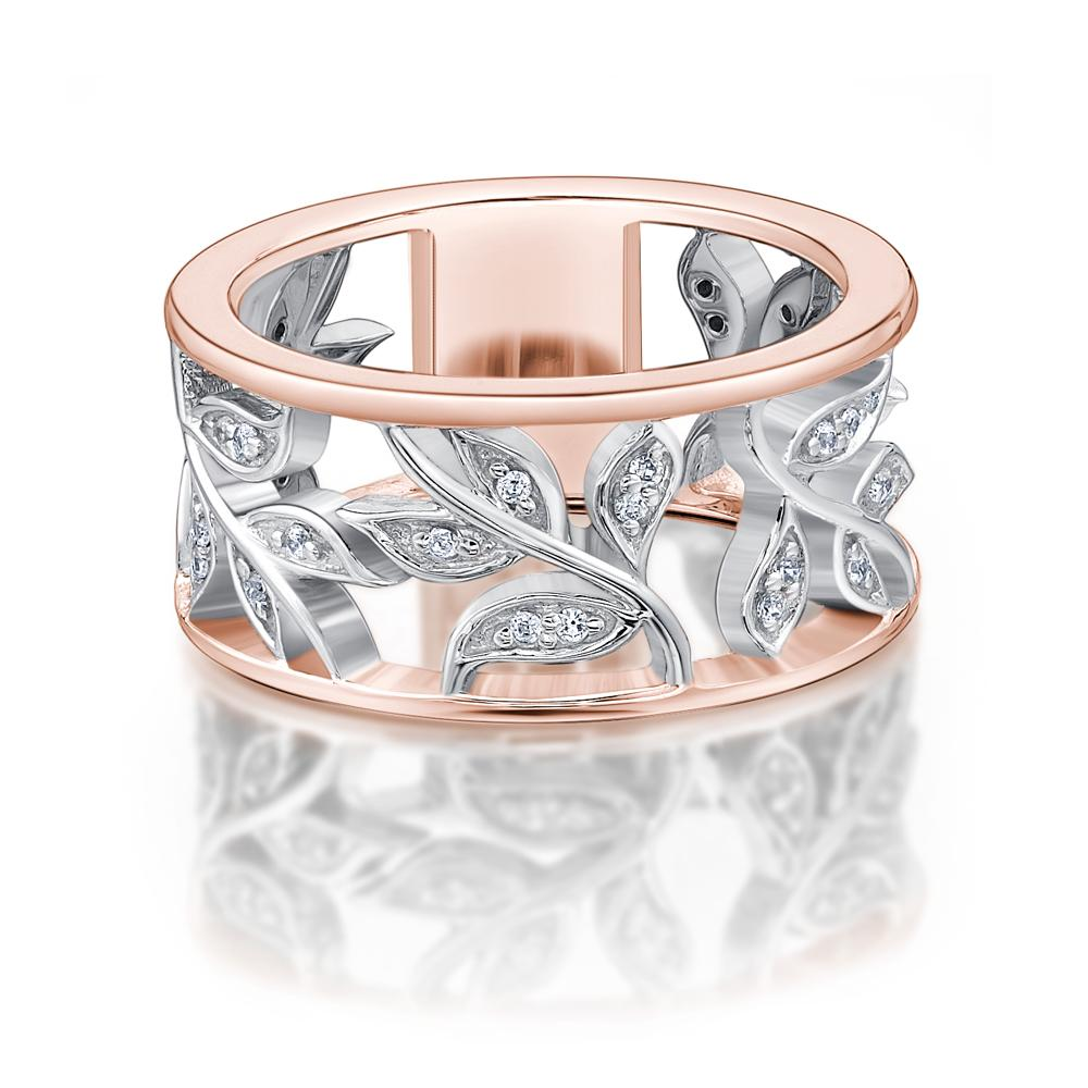 Floral Ring in Rose Gold w/ White Gold Setting