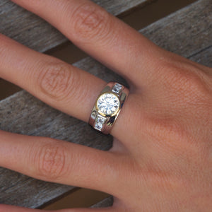 Synergy Wide Bezel Set Round Brilliant Cut Ring in Sterling Silver w/ Yellow Gold