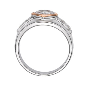 Synergy Wide Bezel Set Cushion Cut Ring in Sterling Silver w/ Rose Gold
