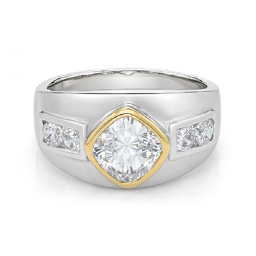 Synergy Wide Bezel Set Cushion Cut Ring in Sterling Silver w/ Yellow Gold