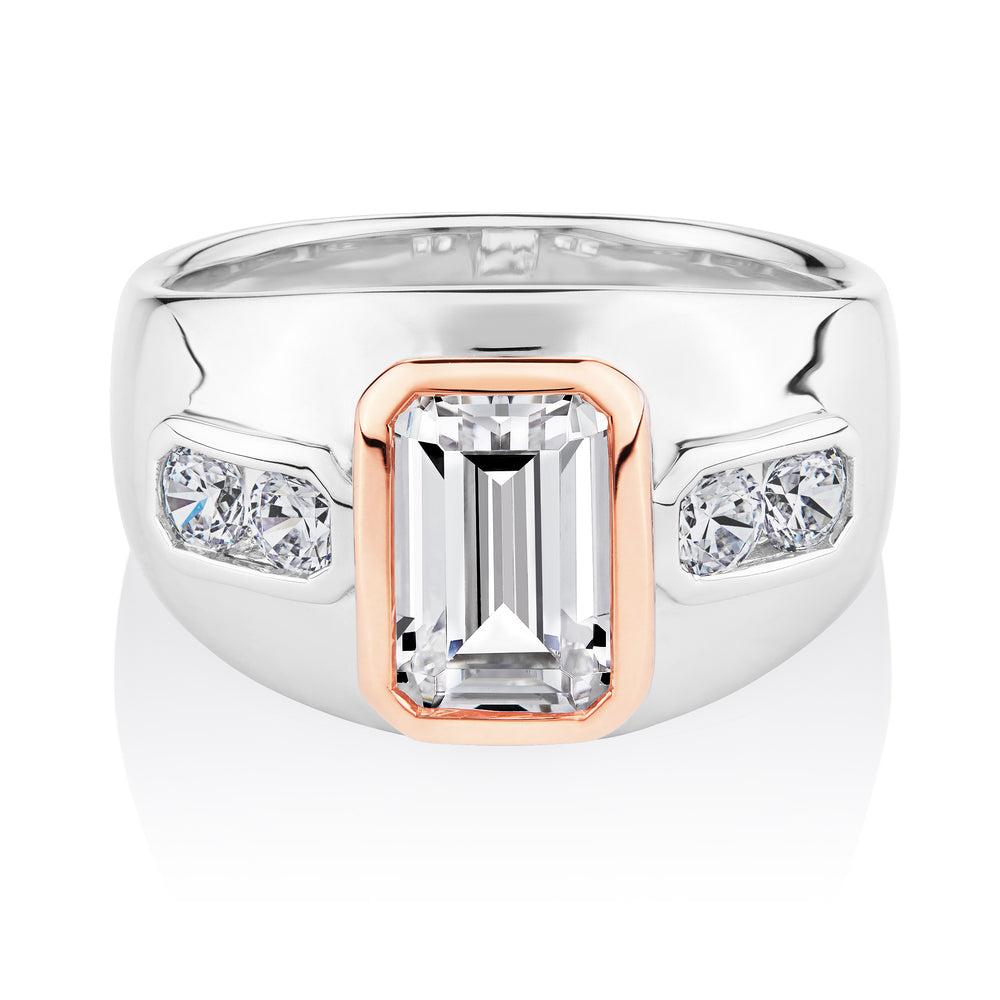 Synergy emerald and round brilliant cut diamond simulant ring crafted in sterling silver with rose gold.